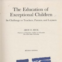 Image of LC3965 .H4 1953 - The Education of Exceptional Children