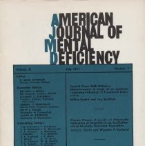 Image of RC326 .A415 1976 - American Journal of Mental Deficiency Volume 81  , No. 1 , pp.  1-115  July 1976  Special-Class EMR Children Mainstreamed: A Study of an Aptitude (Learning Potential) X Treatment Interaction...by Milton Budoff and Jay Gottlieb Plasma Vitamin A Levels - A Diagnostic Indication of Hepatitis in an Institutionalized Mentally Retarded Population...by Jerry L. Curtis and Wynette F. Swicord Solving Complex Perceptual Discrimination Problems: Techniques for the Development of Problem-Solving Strategies...by Micheal J. Guralnick  Gottlieb...1, Swicord...12, Guralnick...18, Stimulus over selectivity:A common feature in Autism and Retarded by Hannelore Wilhelm and O. Ivar Lovaas...26 Effects of Frequency of Photic Stimulation upon Autistic and Retarded Children by Fred Frankel, Betty Jo Freeman, Edward Ritvo, Barbara Chikami, and Everett Carr...32