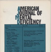 Image of RC326 .A415 1978 - American Journal of Mental Deficiency Volume 82  , No. 6 , pp.  525-632  May 1978  Predicting School Failure from Infromation Available at Birth...by Craig T. Ramey, Donald J. Stedman, Ann Borders-Patterson, and Wain Mengel Neurological and Intellectual Sequelae of Reye's Syndrome...by Philip W. Davidson, Robert H. Willoughby, Lorcan A. O'Tuama, Charles N. Swisher, and David Benjamins Down's Syndrome and Leukemia: Mechanism of Additional Chromosomal Abnormalities...by Kong-oo Gah, Hahng Lee, and Gerald Miller