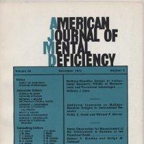 Image of RC326 .A415 1979 - American Journal of Mental Deficiency Volume  84 , No. 3 , pp.  219-328  November 1979