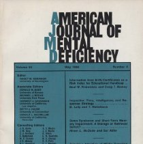 Image of RC326 .A415 1980 - American Journal of Mental Deficiency Volume 84  , No. 6 , pp.  545-666  May 1980
