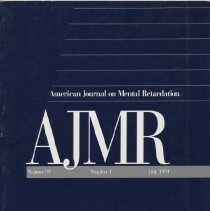 Image of RC326 .A415 1994 - American Journal on Mental Retardation Volume  99 , No. 1 , pp.  1-122   July 1994  Issues in Defining Mental Retardation..by Steven Reiss