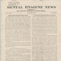 Image of RA790.A1 M533 - Mental Hygiene News  Published by New York State Department of Mental Hygiene Volume IX  November, 1938    Number  3 Dedication Of Hutchings Hall