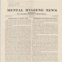 Image of RA790.A1 M533 - Mental Hygiene News  Published by New York State Department of Mental Hygiene Volume IX  May, 1939    Number 9 Improvement In Family Care