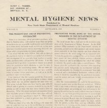 Image of RA790.A1 M533 - Mental Hygiene News  Published by New York State Department of Mental Hygiene Volume  X  September, 1939   Number 1 The Present-Day Job Of Preventive Psychiatry