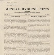 Image of RA790.A1 M533 - Mental Hygiene News  Published by New York State Department of Mental Hygiene Volume X  May, 1940    Number 9 Sibling Rivalry