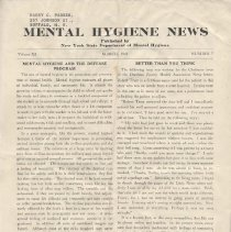 Image of RA790.A1 M533 - Mental Hygiene News  Published by New York State Department of Mental Hygiene Volume XI  March, 1941    Number  7 Mental Hygiene And The Defense Program