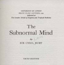 Image of RJ499 .B75 1955 - The Subnormal Mind