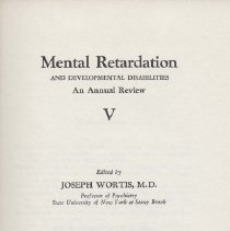 Image of RC570 .M38 1973 - Mental Retardation  And Developmental Disabilities An Annual Review Edited by Joseph Wortis, M.D.