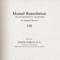 Image of RC570 .M38 1975 - Mental Retardation  And Developmental Disabilities An Annual Review Edited by Joseph Wortis, M.D.