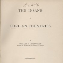 Image of RC450. A1 L4 1889 - Book:  The Insane In Foreign Countries.  By William P. Letchworth.  Countries discussed include England, Scotland, Ireland, Continental Countries, and the Colony of Gheel, with illustrations.