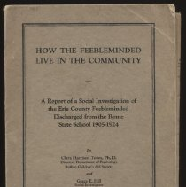 Image of HV3004 .T69 1924 - Report:  How The Feebleminded Live In The Community:  A Report Of A Social Investigation of The Erie County Feebleminded Discharged From The Rome State School 1905-1924.  By Clara Harrison Town and Grace E. Hill.