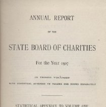 Image of HV88 .N7 1908 v3 - Annual Report of the State Board of Charities for the Year 1907 In Three Volumes  With Statistical Appendix To Volume One Bound Separately Volume Three - Statistical Appendix to Volume One Transmitted To The Legislature February 3, 1908 Albany J.B. Lyon Company, State Printers   1908