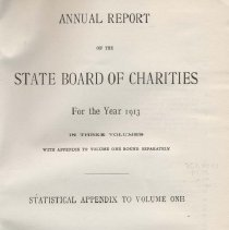 Image of HV88 .N7 1914 v3 - Forty-Seventh Annual Report of the State Board of Charities  of the State of New York for the Year 1913 In Three Volumes Volume Three  Statistical Appendix to Volume One