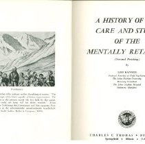 Image of HV3004 .K2 - A History of the Care and Study of the Mentally Retarded  (Second Printing-1967) by Leo Kanner