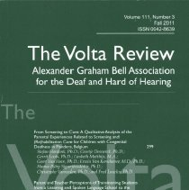 Image of HV2350 .V7   2011 - The Volta Review  Volume 111, Number 3  Fall 2011 ISSN 0042-8639 Allexander Graham Bell Association for the Deaf and Hard of Hearing