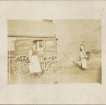 Image of Johnston's Bakery Delivery Wagon with Art Whitelaw and Russ Newman - 1904