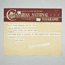 Image of Telegram to Mrs. B. Smith - 1945/09/22