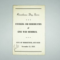 Image of Rememberance Day Service Program - 1953/11/11