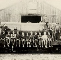 Image of Whitelaw Machinery Employees and Boiler on Flatbed Rail Car - 1900