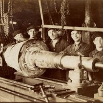 Image of Whitelaw Machinery Employees in Factory with Engine Lathe - 1912 C
