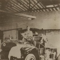 Image of Bickle Fire Engine (Made for Orillia) in Young Street Plant, 1927 - 1927
