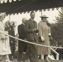 Image of George VI & Queen Elizabeth Royal Visit, 1939 - On Platform - 1939/06