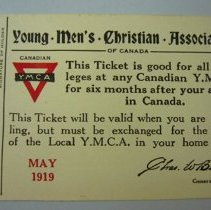Image of Young Men's Christian Associations Ticket - 1919