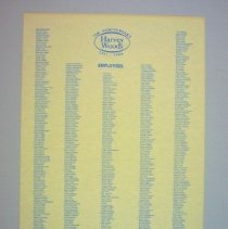 Image of Harvey Woods 75th Anniversary Employee List - 1986