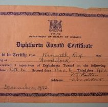 Image of Diphtheria Toxoid Certificate - 1933