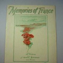 "Image of ""Memories of France."" Sheet Music - 1928"