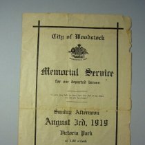 Image of City of Woodstock Memorial Service for Departed Heroes - 1919/09/03