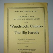 """Image of """"The Souvenir Song of Woodstock Ontario"""" Sheet Music - 1931"""