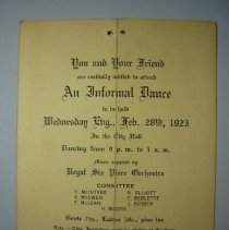 Image of Invitation to an Informal Dance - 1922/12/25
