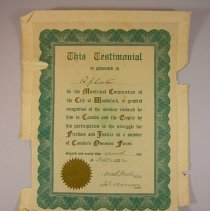 Image of WW1 City of Woodstock Appreciation Testimonial for  R.J. Carter - 1922 /10/11