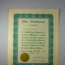 Image of WW1 City of Woodstock Appreciation Testimonial for A. W. Thomson - 1922 /10/11