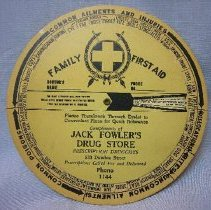 Image of First Aid Wheel from Jack Fowler Drug Store - 1946 C