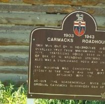 Image of Historical Plaque for the Carmacks Roadhouse - 1986