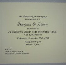 Image of Reception and Dinner Invitation, 1968 - 1968/09/25