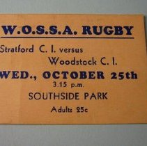 Image of W.O.S.S.A Rugby Ticket - 1937 C