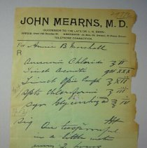 Image of John Mearns Prescription - 1890 C