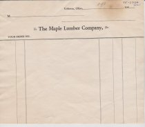 Image of Maple Lumber Company blank order form.