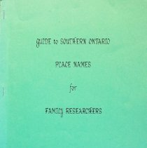 Image of Guide to Southern Ontario place names for family researchers                                                                                                                                                                                                   - 929.713 Tra