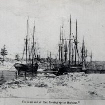 "Image of Drawing of the Oakville Harbour, 1876 - The inner end of the pier, looking up the harbour.  This drawing appeared in the ""Argus"", March 1876, and was found pasted in George Sumner's scrapbook"