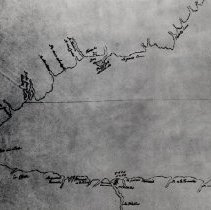 "Image of Map of Head of Lake Ontario, circa 1760 - Map outlines the ""R. de Gravois-duex Sorties"" or ""Gravelly River, two outlets,"" later named Sixteen Mile Creek."