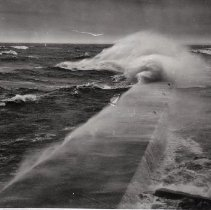 Image of The pier in a storm, Nov. 25, 1950