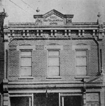 Image of Newspaper - Star Building - Office of the Oakville Star, newspaper, in Odd Fellows Hall, 1897, south side of Colborne (now Lakeshore Road) between Navy Street and Thomas Street.