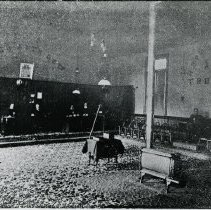 Image of Temperance Hall, Interior view, 1897 - The Temperance Hall was erected in 1842-1843 by the Temperance Reformation Society and was the first Temperance Hall built in Ontario. The building project was undertaken by Justus Williams and Thomas Leach and it was located on the southeast corner of Dundas Street (now Trafalgar Road) and Randall Street.  It was demolished in 1970.