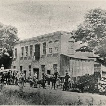 Image of Carson's Planing Mill, 1897 - The planing mill was located on Dundas Street, (now Trafalgar Road) and Randall Street, on the east side.  Later, it was an aluminum factory and more recently a senior's home (Trafalgar Lodge)