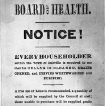Image of Board of Health Notice posted by George J.Sumner, Chief Constable - Public posting regarding sanitation in the Town of Oakville.  Note that the date of the notice is in the springtime.